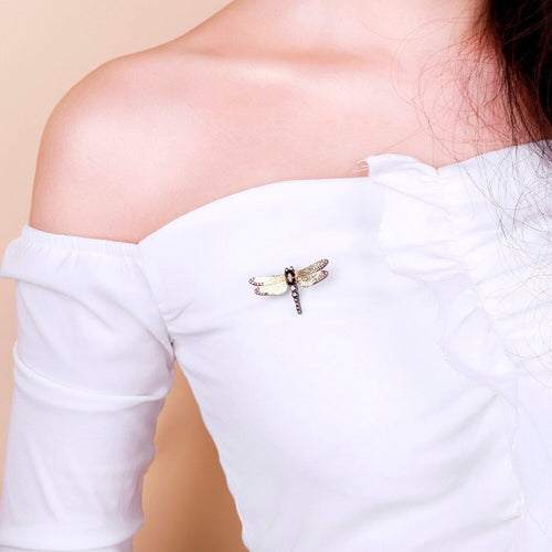 Women's Gold Plated 925 Sterling Sliver and Natural Smoky Quartz Dragonfly Pin Brooch