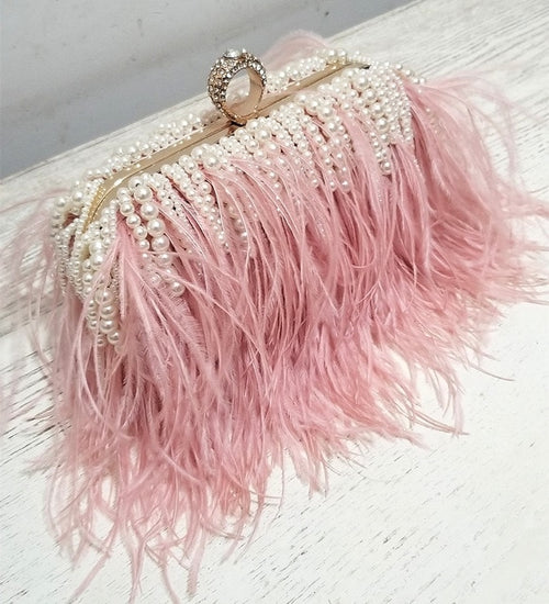 Women's Pearl Feather Evening Clutch Bag Purse