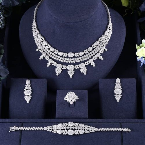 JaneKelly 4pcs Bridal Zirconia Jewelry Set For Women -