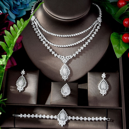 Women's 4 Piece Bridal Crystal Jewelry Set with Drop Earrings Bracelet Ring and Matching 3 Layer Pendant Necklace