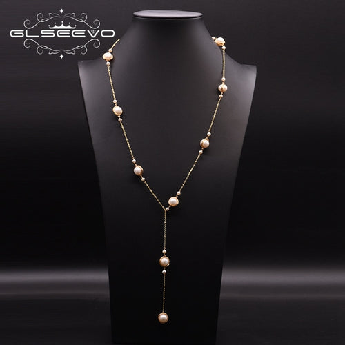 Women's Natural Freshwater Pearl 14K Gold Plated Long Necklace