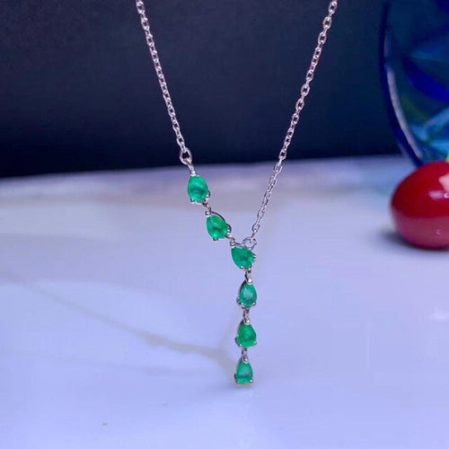 Women's 925 Sterling Silver and Natural Emerald Pendant Necklace