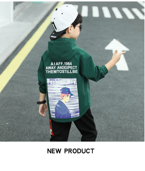 Boys' Clothing Set with Hooded Windbreaker Jacket with Back Print and Printed Pull On Pants