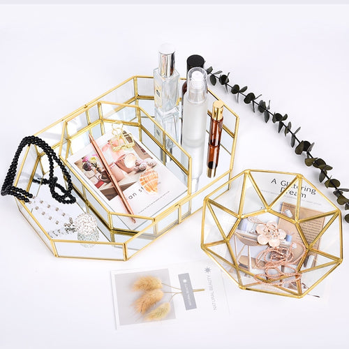 Glass and Gold Jewelry and Cosmetic Organizer Tray