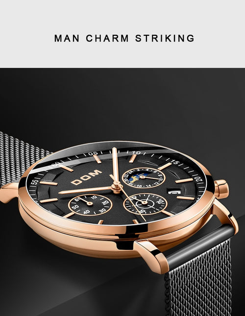 Men's Stainless Steel 3 ATM Waterproof Quartz Watch with Luminous Hands