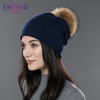 Women's Natural Fur Wool Knitted Pompom Beanie Hat