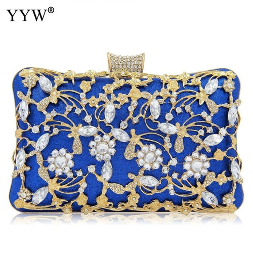 Women's Satin Evening Clutch Crossbody Bag with Crystal Decoration and Chain