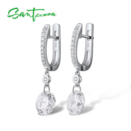 Women's 925 Sterling Silver Sparkling Cubic Zirconia Drop Earrings