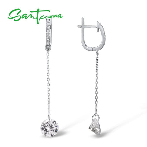 Women's 925 Sterling Silver Shiny White Cubic Zirconia Long Drop Earrings