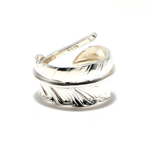 Women's Men's 925 Sterling Silver Eagle Feather Open Finger Ring