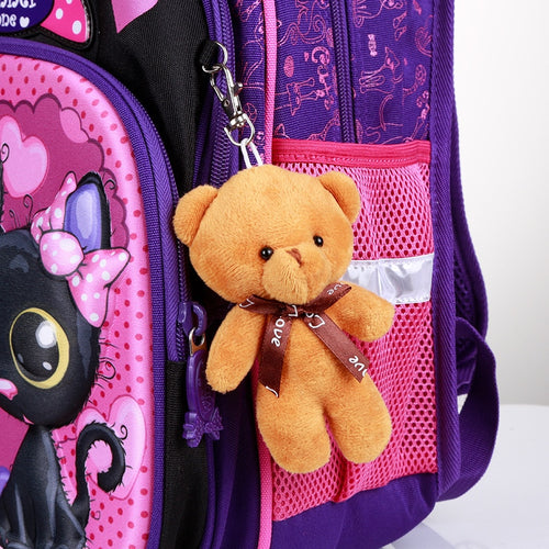 Girls' Orthopedic Waterproof Backpack with 3D Print and Stuffed Bear