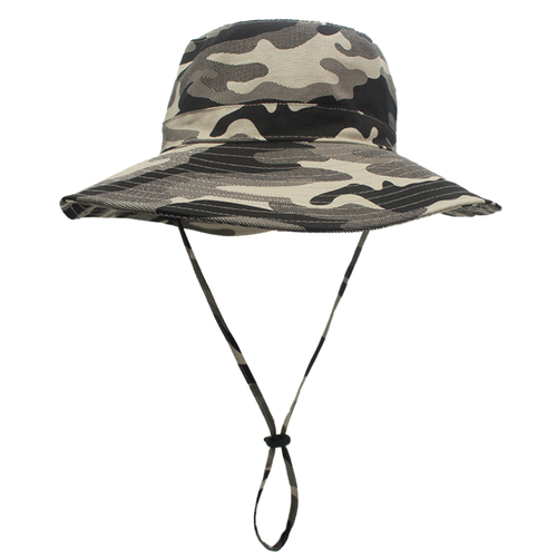 Men's and Women's Cotton Wide Brim Camouflage Bucket Hat with String