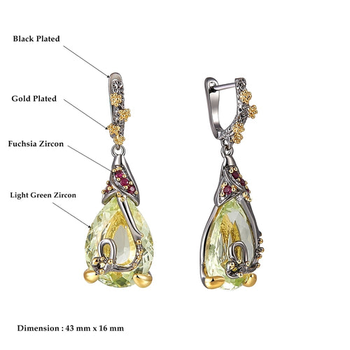Women's Water Drop Crystal Jewelry Set with Drop Earrings and Matching Pendant Necklace