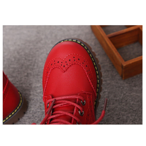 Girls' Boys' PU Leather Lace Up Docs Boots Shoes