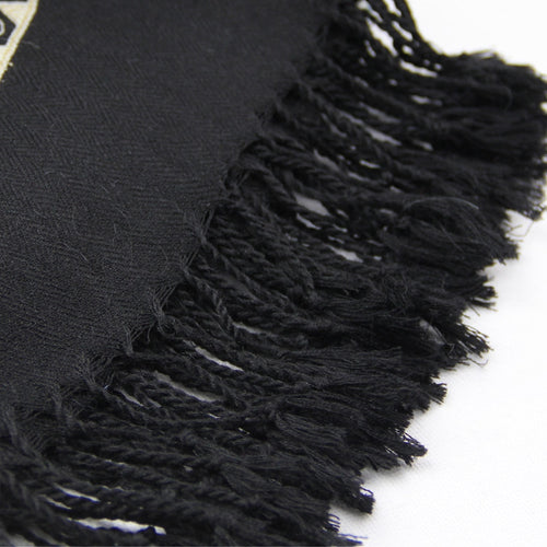 Women's 100% Wool Patterned Pashmina Scarf with Tassels