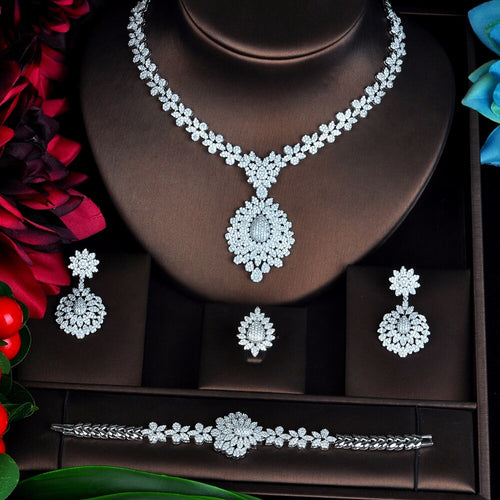 Women's 4 Piece Cubic Zirconia Bridal Jewelry Set with Drop Earrings Ring Bracelet and Matching Pendant Necklace