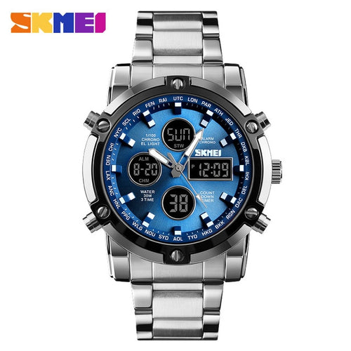 Men's Stainless Steel 3 ATM Waterproof Chronograph Watch with Double Display