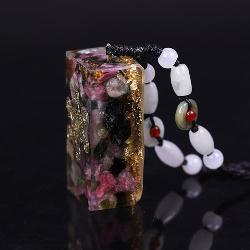 Women's Natural Tourmaline Orgonite Pendant Necklace