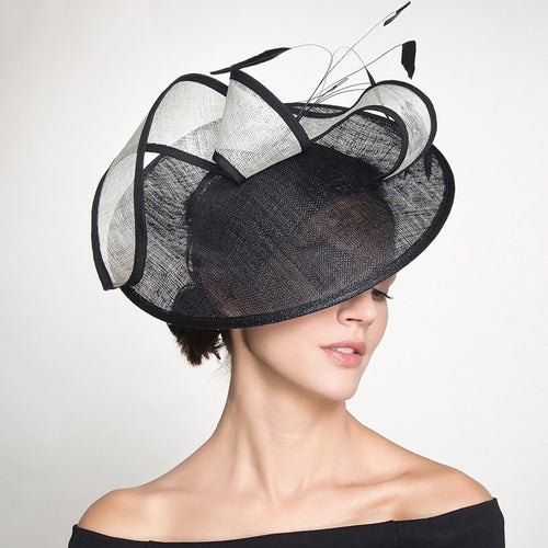 Women's Millinery Sinamay Wide Brim Hat for Wedding Church