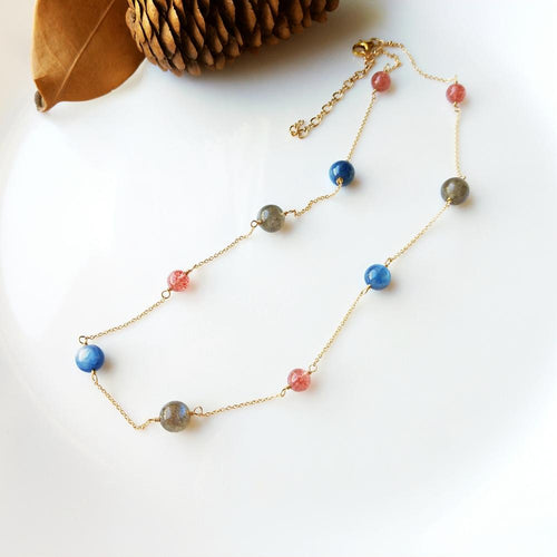Women's 925 Sterling Silver and Natural Labradorite Kyanite Strawberry Quartz Pendant Necklace