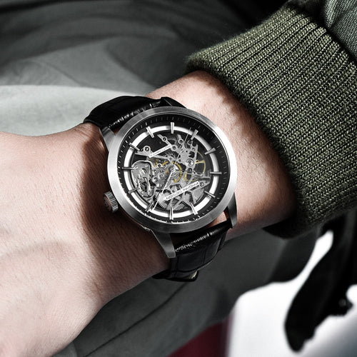 Men's Water Resistant Shock Resistant Mechanical Skeleton Watch with Leather Band