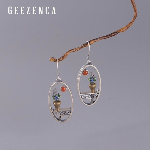 Women's Handmade 925 Sterling Silver Flower Vase Drop Earrings