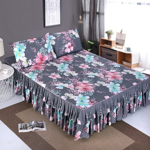 Colorful Printed Bedspread Bedskirt and 2 Pillowcases