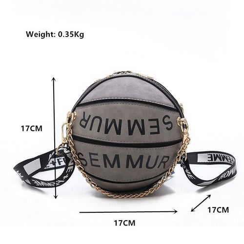 Women's PU Leather Shoulder Crossbody Basketball Bag