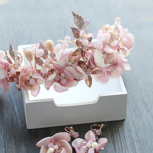 Women's Bridal Accessory Pink Blossom Flower Hairband