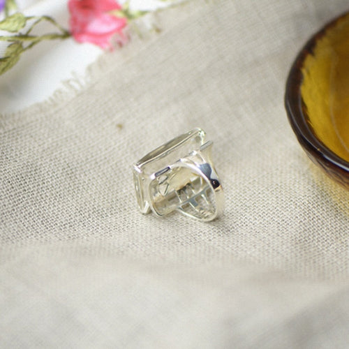 Women's 925 Sterling Silver Rectangle Crystal Ring