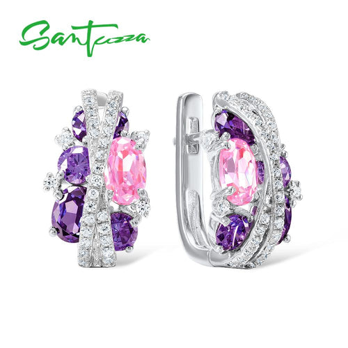 Women's 925 Sterling Silver Purple Amethyst Crystal Jewelry Set with Earrings and Matching Ring