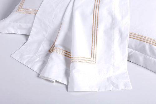 Luxury 100% Egypt Cotton White Embroidered 5 Star Hotel Bedding Set