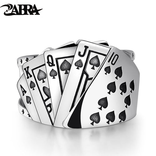 Zabra Poker Solid 925 Silver Rock Punk Ring for Men and Women