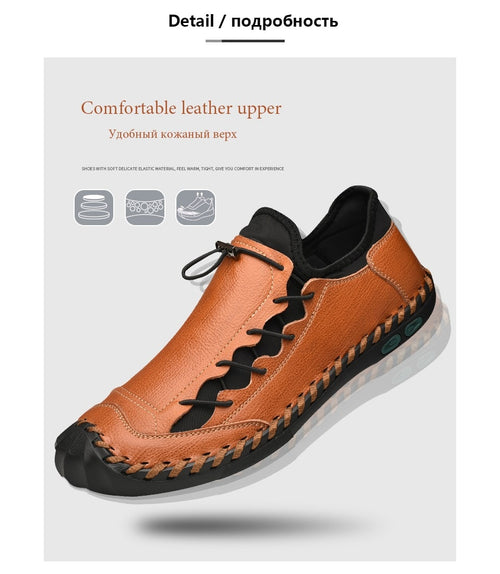 Men's Handmade Waterproof Genuine Leather Casual Loafers Shoes with Rubber Cap Toe
