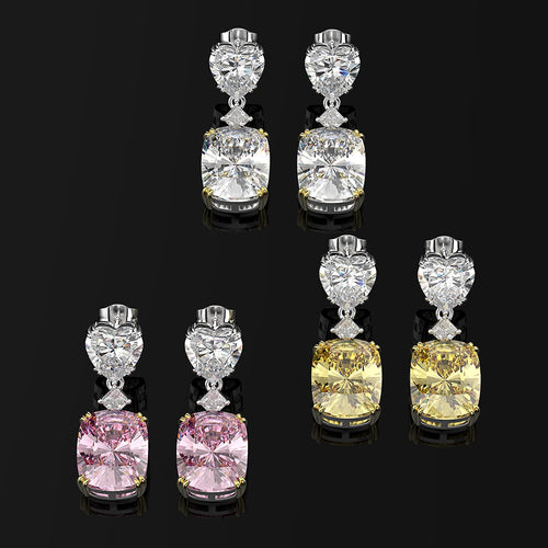 Women's 925 Sterling Silver Moissanite Gemstone Heart Drop Earrings