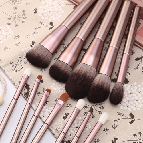 Doxa Professional Eyes Makeup Brushes Set of 12pcs with Wood Handle