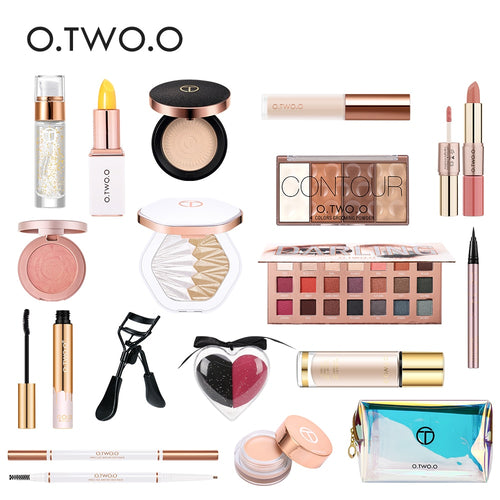 O.TWO.O 17pcs Cosmetic Makeup Set with Foundation Highlighter Blush Matte Lipstick