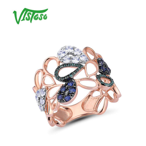Women's 9K 375 Rose Gold Created Sapphire Emerald Hollow Ring