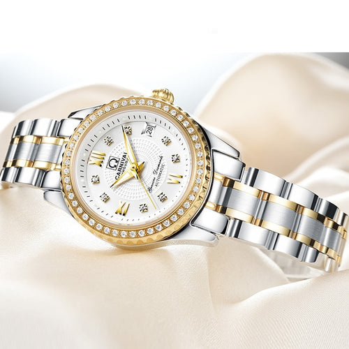 Women's Waterproof Automatic Mechanical Watch with Luminous Hands and Diamond Decoration