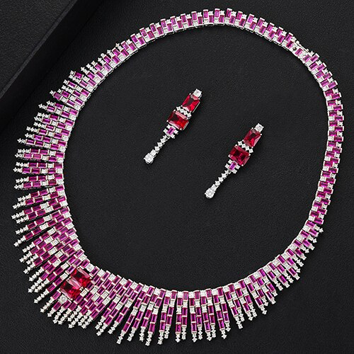 Women's Tassel Jewelry Set with Drop Earrings and Matching Pendant Necklace