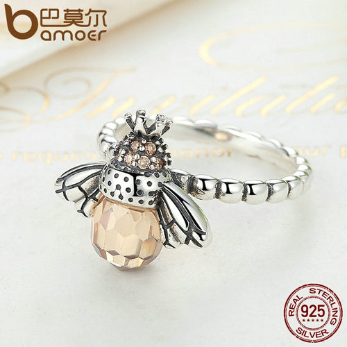 Women's 925 Sterling Silver Crystal Bee Finger Ring