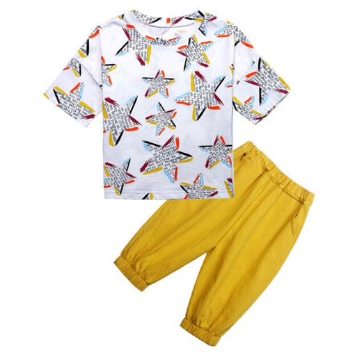 Children's Boys' Clothing Set with Short Sleeve Loose Printed Top and Shorts