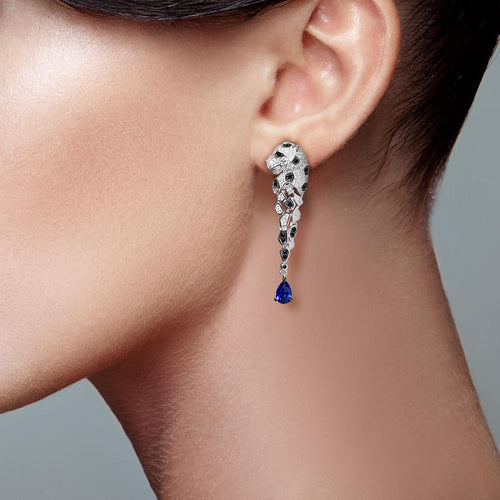 Women's 925 Sterling Silver Leopard Sparkling Blue Cubic Zirconia Drop Earrings
