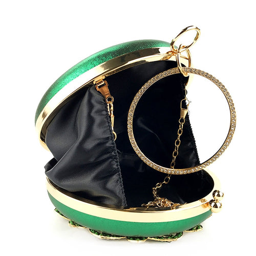Women's Round Clutch Bag Evening Chain Shoulder Bag with Crystal Decoration