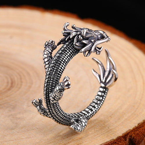 Zabra e Adjustable 925 Sterling Silver Dragon Ring for Men