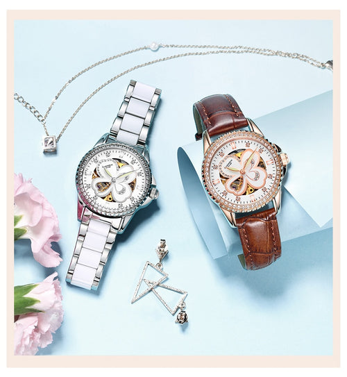 Women's Stainless Steel Shock Resistant Waterproof Round Quartz Watch with Diamond Decoration