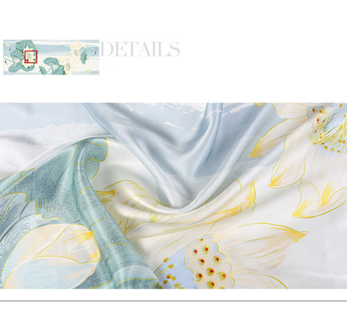 Women's 100% Silk Long Scarf with Flower Print
