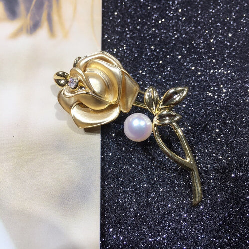 Women's Freshwater Pearl 10K Yellow Gold Plated Rose Flower Brooch