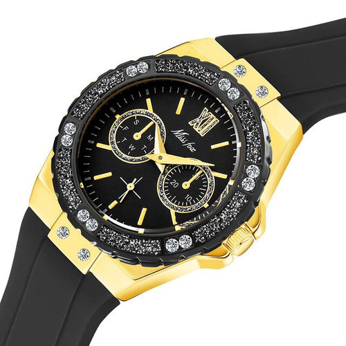 Women's 18K Gold Plated Stainless Steel 3 ATM Waterproof Quartz Watch with Crystal Decoration