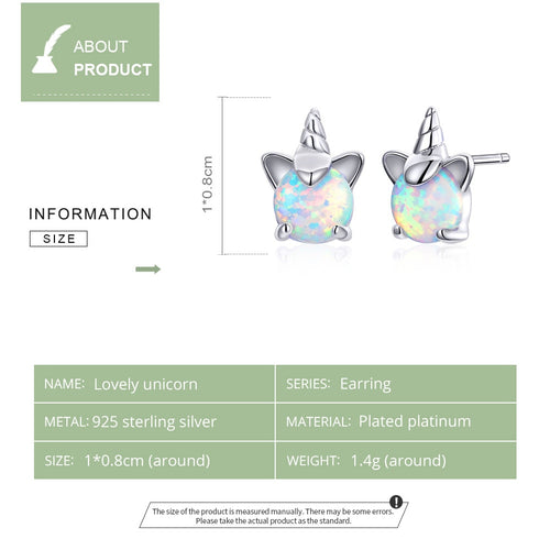 Girl's 925 Sterling Silver White Opal Unicorn Stud Earrings